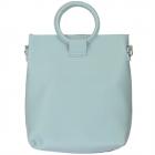 91872 Circle Top Handle Solid Tote Bag, Blue