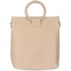91872 Circle Top Handle Solid Tote Bag, Apricot