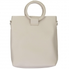 91872 Circle Top Handle Solid Tote Bag, Beige