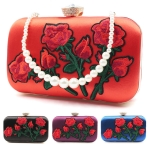 990 Rose Applique Clutch W/ Pearl Strap