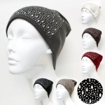 A12001 Metal Stud with Stone Mixed Beanie
