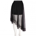 AO1003 Oblique Tulle Mesh Skirt with Stretchable Band