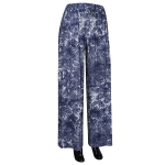 AO178 Denim Feel Flower Print Stretchable Palazzo Pant