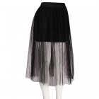 AO199 Double Layered Tulle Mesh Skirt with Stretchable Band