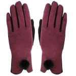 AO231 Gloves W/ Pom Pom, Burgundy