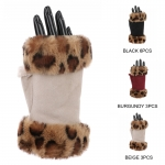 AO253 Solid & Leopard Faux Fur Trimmed Gloves