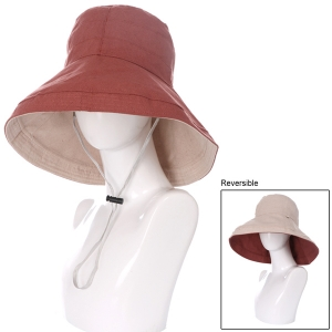 AO3084 Reversible Solid Bucket Hat, Red