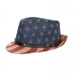 AO3091 Flag Fedora Hat, Khaki