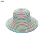AO3162 Multi Color Bowler Straw Hat, Blue