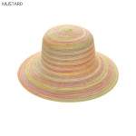 AO3162 Multi Color Bowler Straw Hat, Mustard