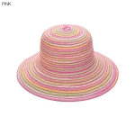 AO3162 Multi Color Bowler Straw Hat, Pink