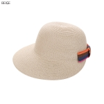 AO3165 Colorful Bow-tie Straw Baseball Cap, Beige