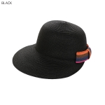 AO3165 Colorful Bow-tie Straw Baseball Cap, Black