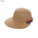 AO3165 Colorful Bow-tie Straw Baseball Cap, Khaki