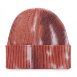 AO3190 Tie-dye Loosed Knitted Beanie, Khaki (Red)