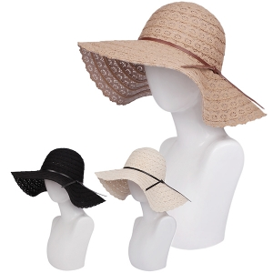 AO330 Leatherette Knot Accent Crochet Floppy Hat