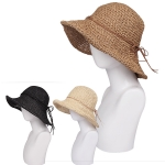 AO334 Double String Bow Accent Summer Hat