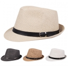 AO337 Belt Accented Woven Fedora Hat