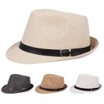 AO337 Belt Accented Woven Fedora Hat