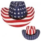 AO338 US Flag Straw Panama Hat