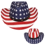 AO338 US Flag Straw Panama Hat