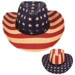 AO339 US Flag Straw Panama Hat