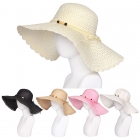 AO341 Wooden Ball Accented Bow Trim Floppy Hat