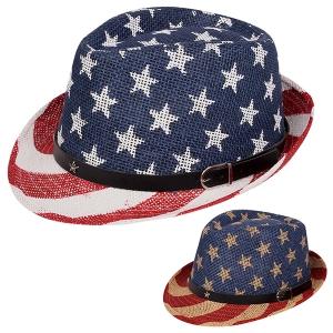 AO343 US Flag Straw Hat