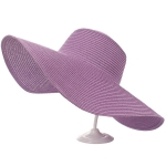 AO346 Solid Floppy Straw Hat, Purple