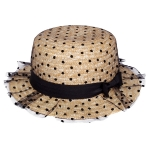 AO347 Polka Dot Lace Layered Bow Trim Boater Hat