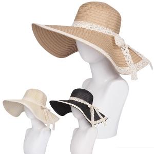 AO348 Lace  Bow Trim Floppy Hat