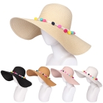 AO353 Multi Pom Pom Trim Floppy Hat