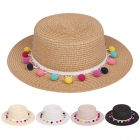 AO355 Multi Color Pom Pom Trim Straw Hat