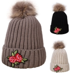 AO384 DETACHABLE POM POM BEANIE W/ PATCH