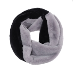 AO5010 Dual Colors Furry Infinity Scarf, Black&Grey