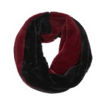 AO5010 Dual Colors Furry Infinity Scarf, Black&Burgundy