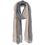 AO5011 Two-Color Oblong Scarf, Grey/Beige