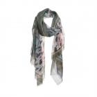 AO5013 Brushed Floral & Leopard Pattern Scarf, Green