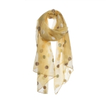 AO5020 Solid Color w/Sheer Polka-dot Embroidery Scarf, Mustard