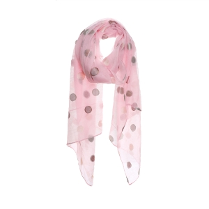 AO5020 Solid Color w/Sheer Polka-dot Embroidery Scarf, Pink