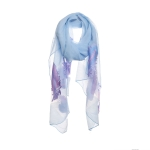 AO5022 Solid Color Feather Embroidery Sheer Scarf, Blue