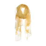 AO5022 Solid Color Feather Embroidery Sheer Scarf, Mustard