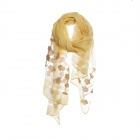 AO5023 Solid Color w/Sheer Flower Embroidery Scarf, Mustard
