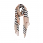 AO5024 Plaid Pattern Lightweight Scarf, Beige