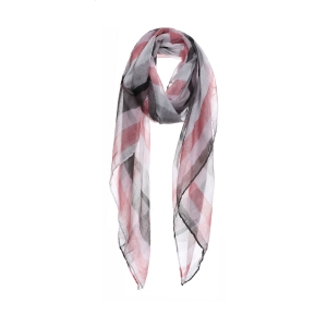 AO5025 Color Faded Stripes Pattern Scarf, Pink