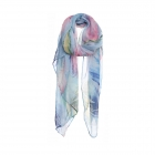 AO5027 Multi Color Feathers Pattern Scarf, Blue