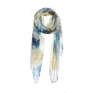 AO5027 Multi Color Feathers Pattern Scarf, Mustard