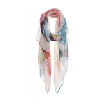 AO5027 Multi Color Feathers Pattern Scarf, Orange