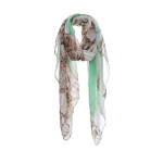AO5029 Half Solid Color & Half Python Pattern Scarf, Green