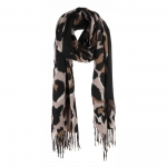 AO5040 Leopard Pattern w/Solid Color Trim Oblong Scarf, Black